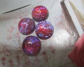 Dragons Breath Or Mexican Opal Glass Cabs 15mm 4Pc.