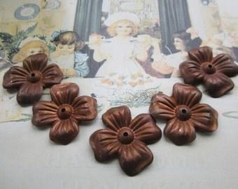 """Vintage 1950 Large Brass Flower Stampings Dark Patina 1 1/2"""" 4Pcs."""