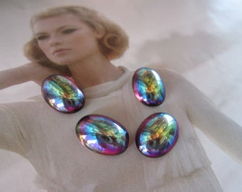 Vintage Amethyst AB Glass Cabs 14x10mm 4Pcs. Smooth Top Cabs