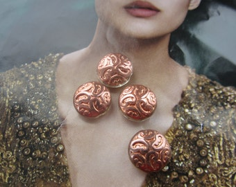 Czech Copper Glass Brocade Design Beads13mm 4Pcs.