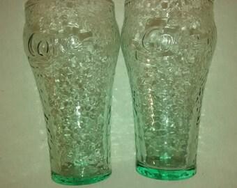 Libbey Green glass , coca cola , soda fountain glass , Pair