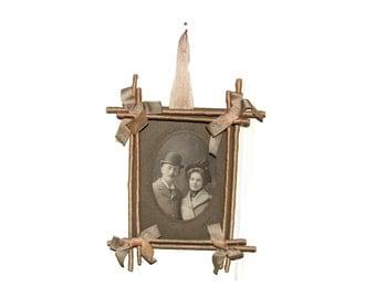 Victorian Twig Frame , Sentimental Handwork ,  Ivory Silk Wrapped