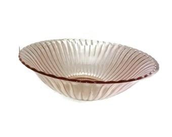Vintage Pink Glass , Depression Glass , Ribbed Serving Bowl