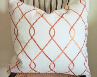 Ivory Linen Pillow Cover with Orange Swirls, 18 x 18, Decorative Pillow Cover