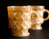 SALE - 50% OFF - Pair of Fire King Mugs - Kimberly - Iridescent Peach Lusterware - Mid-Century Modern