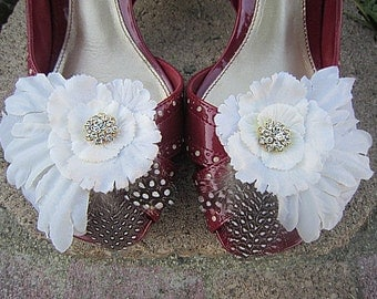 Set of 2 Flower Shoe Clips - Ivory - MABEL - Clear Rhinestone