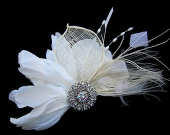 KYLIE - Bridal Ivory Flower Fascinator Hair Clip with Clear Rhinestone Beads Spray Feathers