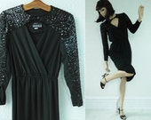 Black Wiggle Dress, Plunging Neckline with Sequins, V-neck with Sparkles, Disco Diva, size Small, by Studio 1 New York, Vintage 1980's