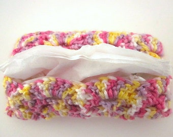 Crocheted Pocket-size Tissue Case, Cover, Cozy, tissues included