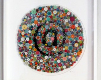 "Modern wall art, circular wall art, Text art, Original 3-Dimensional paper fine art, rolled paper art, ""at"" symbol"