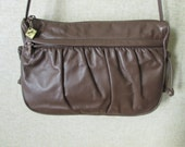 Leather Shoulder Bag mocha brown long strap purse ruched gathered soft structure vintage 80s 1980s hipster handbag Annie of California