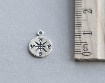 925 Sterling Silver Charm, Compass Charm, Sterling Silver Compass Charm, Nautical Charm, Tiny Compass Charm, 10mm ( 1 piece )