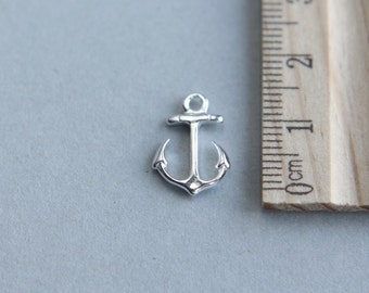 925 Sterling Silver Charm, Shiny Anchor Charm, Sterling Silver Shiny  Anchor Charm, Nautical Charm, 17mm ( 1 piece )