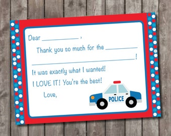 Police Themed Fill In Thank You Cards