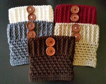 Women's Crochet Boot Cuffs, Boot Toppers, Boot Socks, Leg Warmers with 2 buttons Choose from 5 Colors