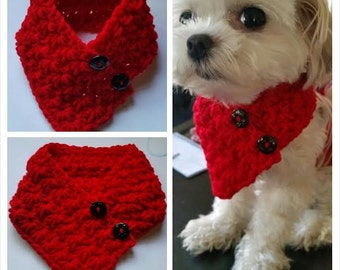 Small Breed Dogs Crocheted scarf, Dog neck warmer, Dog Red Color neck warmer fits most S or M dogs