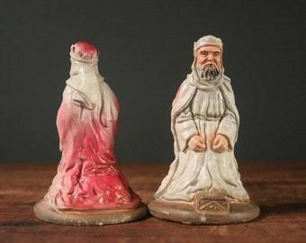 Chalkware Magi Nativity figurines, wise men figurines, mid century chalkware manger pieces