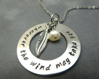 Wherever the wind may take you, hand stamped stainless steel necklace with feather charm