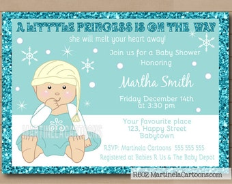 frozen baby shower invitation wint er princess babyshower invite