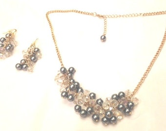 Necklace  Gray Faux Pearls,Clear Crystal,Gold, Prom Jewelry, Prom Necklace, Prom Accessory, Bride Jewelry, Bride Necklaceby Cindydidit