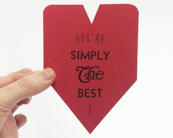 Love Card. You're Simply the Best. Letterpress Cards. I Love You Card.