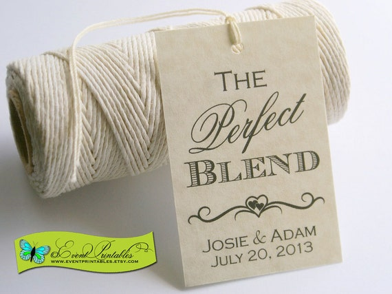 Wedding Favour Gift Tags: The Perfect Blend Printable Wedding Favor Tag DIY Coffee