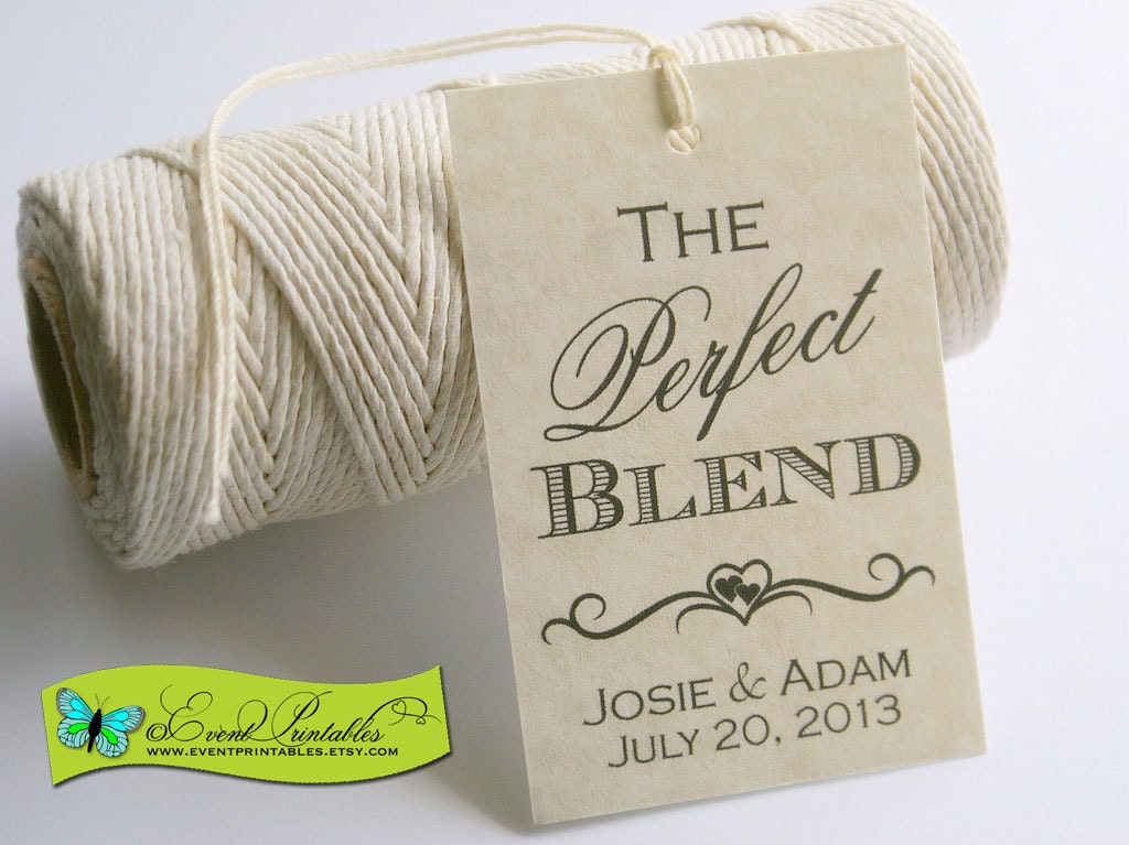 Free Printable Wedding Gift Tags: The Perfect Blend Printable Wedding Favor Tag DIY Coffee
