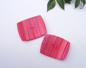 Pink Extra Large Square Polymer Clay Buttons