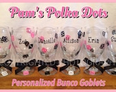 6 Personalized BUNCO WINE GLASSES Goblets with Dice, Name or Word for Bunco Players Prizes Girls Night Out