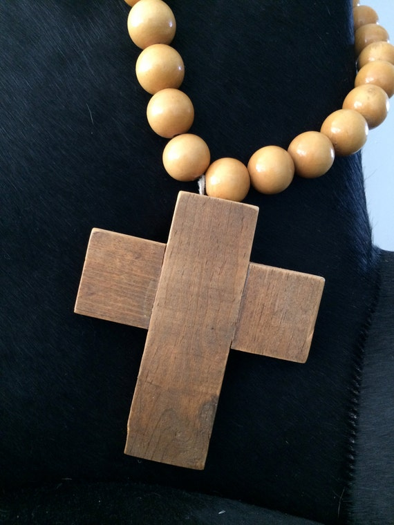 Made to Order Large Prayer Beads with Rustic Wood Cross