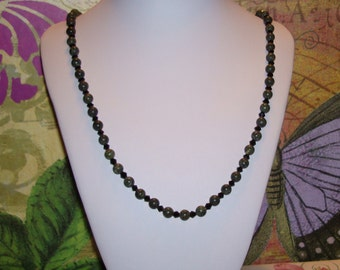 "Dark Green Agate Beads w/ Black Crystals 24"" Necklace with Barrel Clasp"
