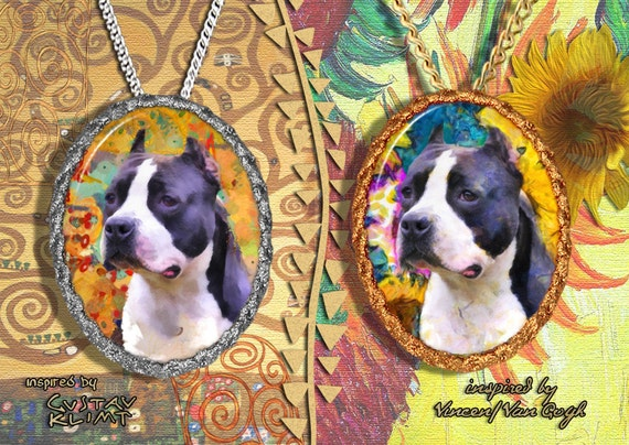 American Staffordshire Terrier Jewelry Pendant - Brooch Handcrafted Porcelain by Nobility Dogs - Gustav Klimt and Van Gogh