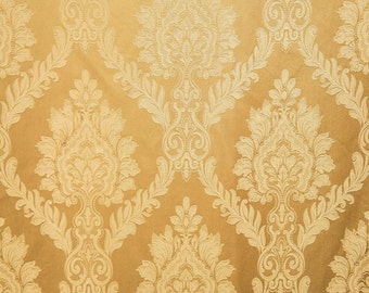 "Castleford 101 Gold Damask Jacquard drapery fabric by the yard 56"" wide bedding pillows tablecloth"