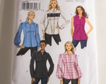Vogue 8598 Women's princess seam blouses sizes 8 10 12 14