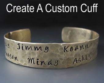 Gold Brass Custom Mother's Bracelet - Children's Names -Personalized Cuff Bracelet