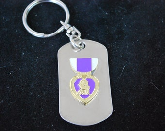Dog Tag Key Ring with Purple Heart Insignia