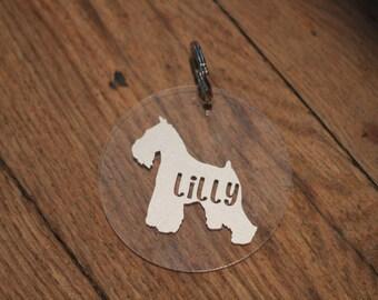 Customizable Pet Keychain... Dog breed silhouette on clear acrylic keychain