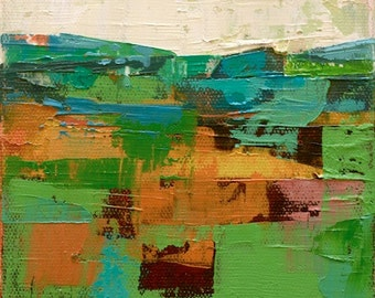"""Petrichor 73"""" Original oil landscape on canvas 6"""" x 6"""" x 1"""" Abstract, contemporary, red,blue,green, yellow"""