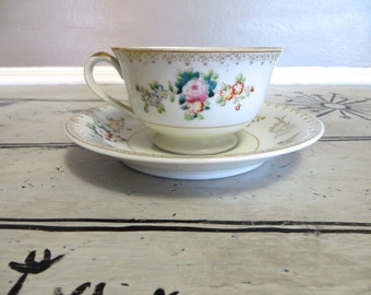 Rose Tea Cup Floral Teacup Tea Cup and Saucer Occupied Japan Berkshire Fine China Tea Service Shabby Chic Tea Party