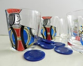 Vintage Playing Cards Game Night Jack King Queen Hearts Cocktail Glasses Barware Set of 6