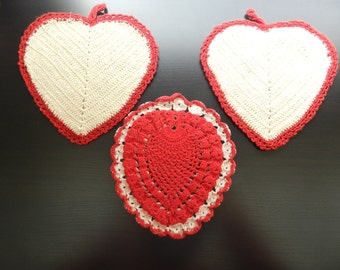 Vintage crochet red and cream off white heart-shaped doilies hotpads set of 3