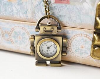Bronze Robot Watch Necklace