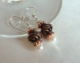 Ornate Copper Earrings, Pearl Earrings, Neutral Earrings, All Occasion Earrings, Sterling Silver Earrings