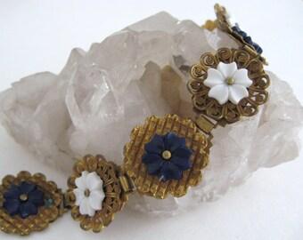 Czech Gold Gilt Brass Bracelet Filigree Links Blue White Flower Accents