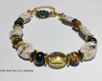 Tiger #Eye #Mosaic #Mother Of #Pearl #Oval #Crystal #Gold #Charm #Bracelet