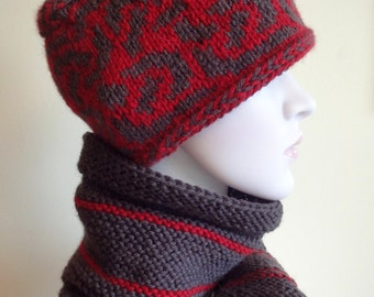 Set:  Colorfull  Handknitted Hat and  Scarf, red and brown colors,  celtic pattern. For Women.