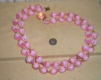 Vintage West Germany 2 Strand Pink Lucite Flower Necklace 1960's Signed Jewelry B28