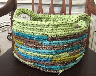 Crocheted Fabric Basket in Greens Turquoise and Brown