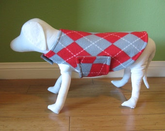Fleece Dog Coat, Extra Small Gray, Red-Orange, and White Argyle Print Fleece with Dove Gray Fleece Lining