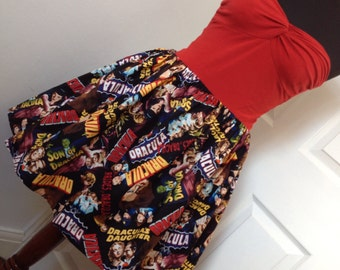 Full Skater / Circle Style Dracula Classic Movie Monster Mini Skirt - Fits to Plus Sizes - Handmade and Ready to Ship